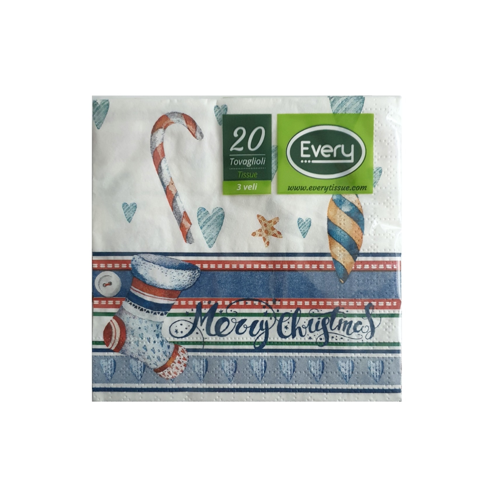 Papirnate serviete Frosty Blue 3 sl. 24 x 24 cm