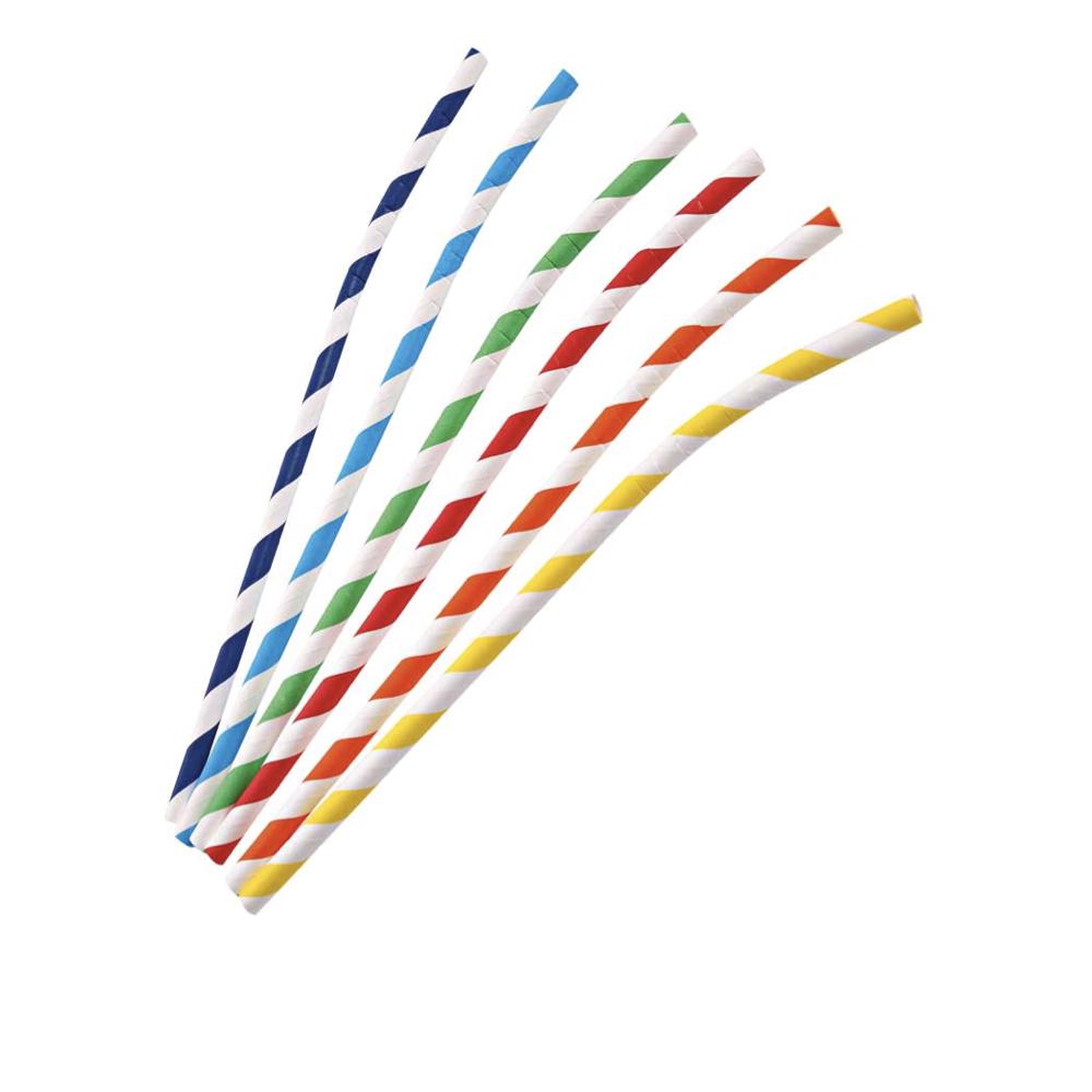 Papirnata slamica Flex s črtami 19,7 cm
